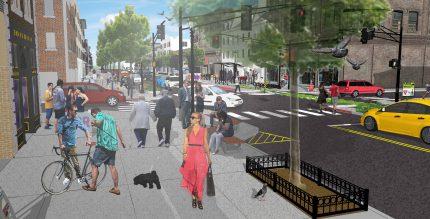 Washington Street pedestrian level rendering