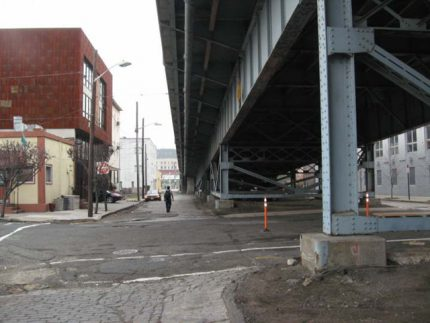 Pedestrian Conditions Under 14th Street Viaduct at Grand Street, Hoboken, before replacement