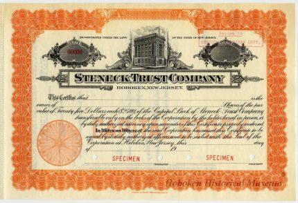 1928 Steneck Trust Company Stock Certificate with 95 River Street, Hoboken