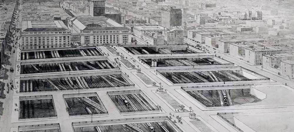 1910 Artist's Conception of the Terminal City neighborhood anchored by Grand Central Terminal