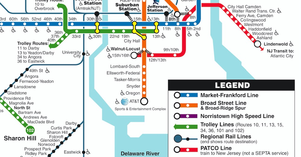 Seamless Transit: PATCO Speedline on SEPTA Rail Transit Map