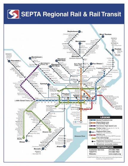 SEPTA Transit Map with PATCO