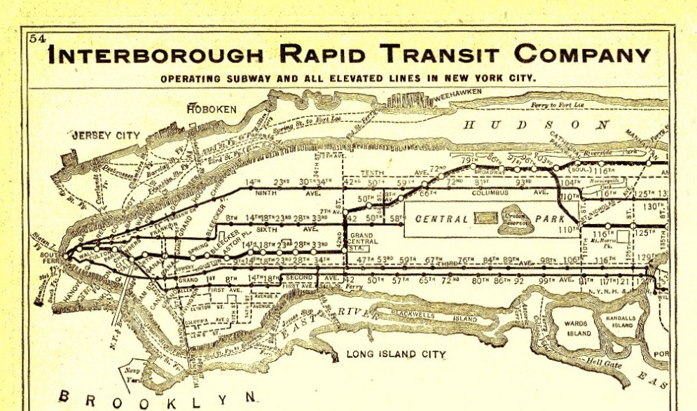 1906 Subway Map with Hudson River Ferry Connections