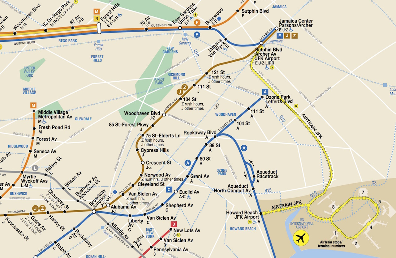 AirTrain to JFK Airport on New York City Subway Map