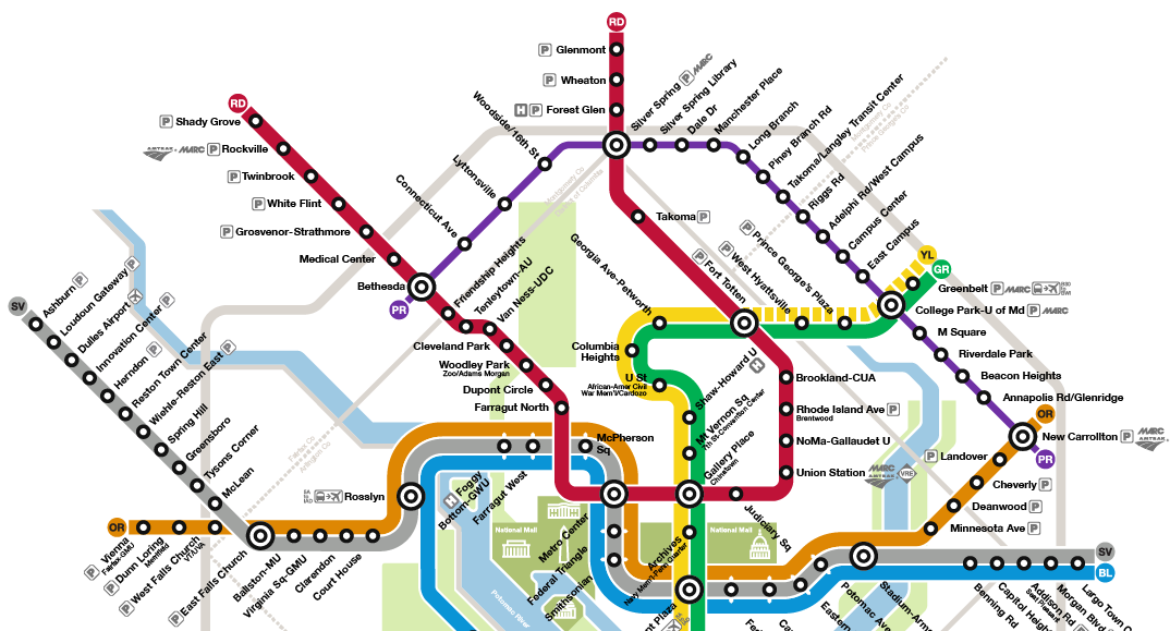 Washington DC Metro map concept with Maryland Purple Line