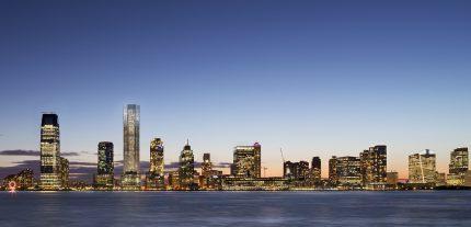 99 Hudson St & Jersey City Skyline at Dusk