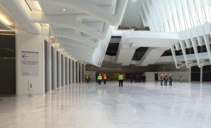Construction workers put the finishing touches on Downtown Manhattan's newest civic space.
