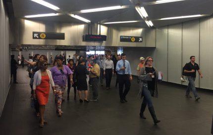 Attendees explore the Dey Street Passageway.