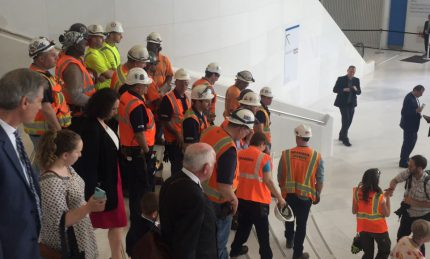 Workers Descend the East Staircase after the ceremony.