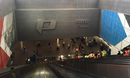 Interior wall, temporary WTC Station