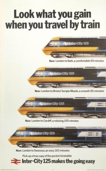 """British Rail InterCity 125: """"Look what you gain when you travel by train"""""""