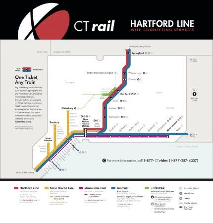 CT Rail Hartford Line Service Map