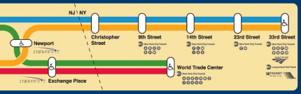 PATH line map with regional transit connections