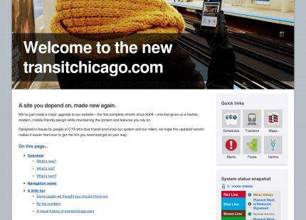 TransitChicago.com welcome page